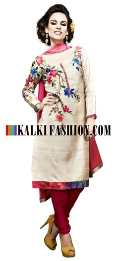 Buy Online from the link below. We ship worldwide (Free Shipping over US$100) http://www.kalkifashion.com/unstitched-suit-in-beige-with-resham-embroidery-8526.html Unstitched suit in beige with resham embroidery