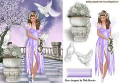 PRETTY LILAC FAERIE WITH DOVES IN THE MOONLIGHT on Craftsuprint - Add To Basket!