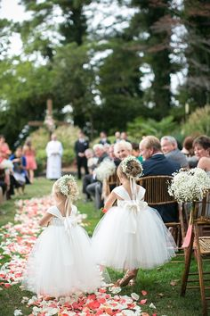 #FlowerGirls #BabysBreath | Little Puffs of Tulle! Photography: Jen + Ashley | See the wedding on SMP - http://www.stylemepretty.com/virginia-weddings/2014/01/14/elegant-backyard-wedding-in-newport-news/