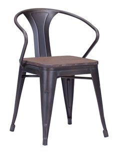 ZUO HELIX DINING CHAIR WITH WOOD SEAT | GUNMETAL CHAIRS INDUSTRIAL
