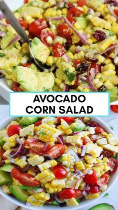 Corn Salad Recipes, Healthy Salad Recipes, Vegetable Recipes, Vegetarian Recipes, Healthy Snacks, Corn Salads, Chicken Corn Salad Recipe, Salad Recipes No Lettuce, Healthy Recipes