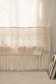Shop Delilah Crochet Curtain at Urban Outfitters today.Dip Dye a crochet curtain, leaving bottom white for nice minimalist yet cozy effect Ivory Curtains, Crochet Curtains, Window Panels, Window Coverings, Crochet Home, Knit Crochet, Chrochet, Cortinas Boho, Macrame Curtain