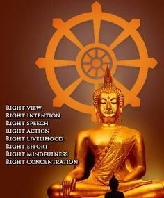 The Eightfold Path - Right view, right intention, right speech, right action, right livelihood, right effort, right mindfulness, and right concentration. Practicing and living by these principles yields a peaceful mind and increases well-being.