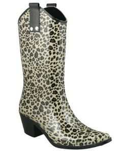 Capelli New York Shiny Baby Leopard Cowboy Ladies Rubber Rain Boot Black Combo 10 - new york how to get card Leopard Boots, Baby Leopard, Black Boots, Cowboy Boots Women, Cowgirl Boots, How To Have Style, My Style, Outdoor Woman, Rain Wear