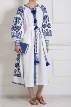 Ukrainian dress vyshyvanka black and blue on white vita kin style