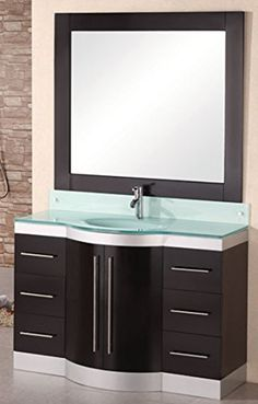 Special Offers - Design Element Jade Single Integrated Glass Drop-In Sink and Countertop Vanity Set 48-Inch - In stock & Free Shipping. You can save more money! Check It (May 21 2016 at 02:00AM) >> http://bathroomvanitiesusa.net/design-element-jade-single-integrated-glass-drop-in-sink-and-countertop-vanity-set-48-inch/