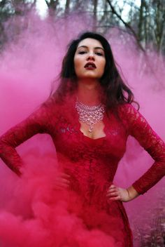 "smoke bomb fashion image - ""an explosion of colour in the landscape"" by Anoushka Probyn"