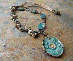 Rustic Glass Ceramic and Stone  Asymmetrical by ChelseaGirlDesigns, $43.00