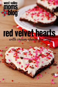 Red Velvet Hearts with Cream Cheese Frosting | westvalleymomsblog.com