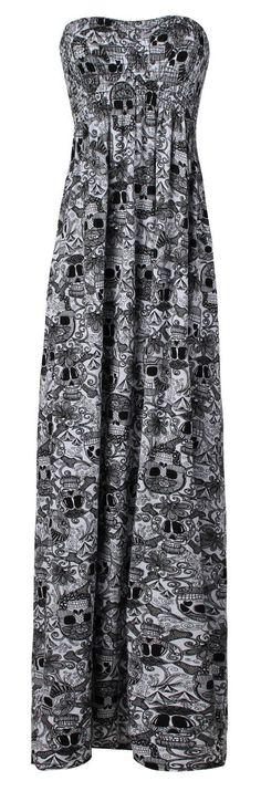 Women's Plain Sheering Boob Tube Maxi Dress - My Sugar Skulls