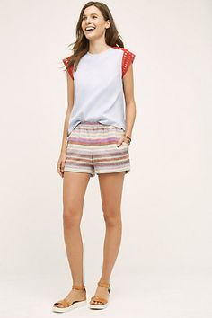 Fringed Stripe Shorts #anthropologie