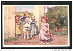 CPA Illustrateur Karl Feiertag: Des Enfants Gratulieren Avec Des Fleurs Zum Geburtstag