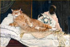 Edouard Manet, Olympia, true version by Fat Cat Art Fat Cats, Cats And Kittens, Kitty Cats, I Love Cats, Crazy Cats, Red Cat, Black Cats, Edouard Manet, Old Paintings