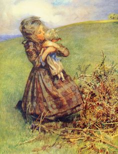 """I found my poor little doll, dears . Illustration by M. Etheldreda Gray from """"The treasure book of children's verse"""" Paintings I Love, Little Doll, Children's Book Illustration, Photos, Pictures, Vintage Children, Vintage Art, Vintage Quilts, New Art"""