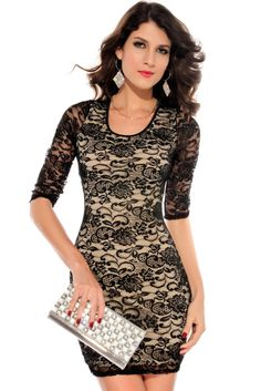Black Nude Lace Keyhole Back Half Sleeves Bodycon Dress Half Sleeve Dresses, Lace Dress With Sleeves, Half Sleeves, Sleeved Dress, Cute Black Dress, Party Dresses Online, Sexy Dresses, Fashion Dresses, Women's Fashion