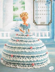 June 1992 Calendar Bed Doll Crochet Pattern Leaflet Annies Attic Barbie Clothes #AnniesAttic