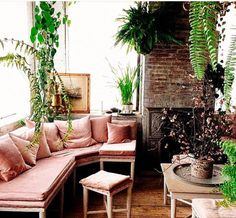 Pink velvet window seat