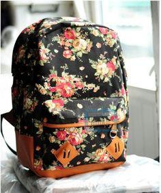 Vintage Cute Flower School Book Bag