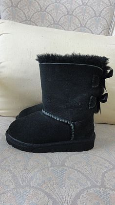 NEW UGG AUSTRALIA BLACK SATIN BOW BOOTS GIRLS TODDLER SIZE 8 USA #UGG #SnowBoots #Everyday