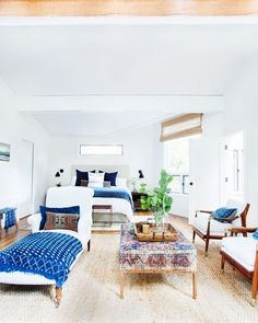 Master bedroom in a California eclectic home.
