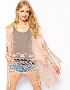 Enlarge ASOS Kimono Top with Embroidery and Fringing