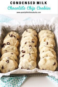 These Condensed Milk Chocolate Chip Cookies taste like a shortbread cookie crossed with a chocolate chip cookie. This recipe is a great way to use up leftover sweetened condensed milk. Condensed Milk Desserts, Condensed Milk Cookies, Sweet Condensed Milk, Sweeten Condensed Milk Recipes, Condensed Milk Biscuits, Milk Chocolate Chip Cookies, Chocolate Chip Biscuits, Vanilla Cookies, Sweets