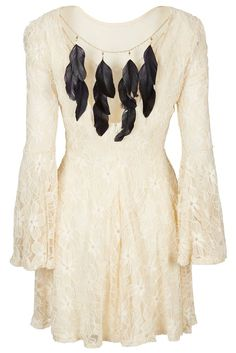 Asos Topshop Luxury Lace Dress with Feather Back by Cocos Fortune US4 UK8 EUR36 #CocosFortune #TeaDress #Formal