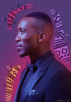 Mahershala, drawn in PS. [Caption: A realistic digital painting of Mahershala Ali. Portrait is from the chest up in profile. Mahershala is wearing a dark tuxedo and bowtie with a patterned handkerchief. He has a mostly shaved head with black hair at...