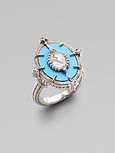 Judith Ripka - White Sapphire, Turquoise & Sterling Silver Ring