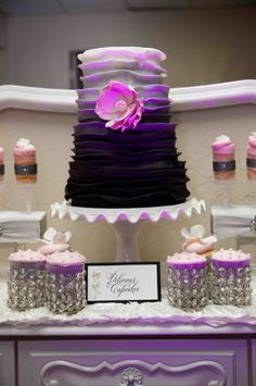 Beautiful Cake Pictures: Pretty Purple Ombre Frill Cake - Cakes with Frills, Flower Cake, Purple Cakes, Wedding Cakes -