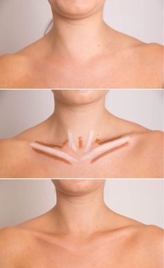 Highlighting & contouring placement pictorial to pop the collar bone for a more feminine look