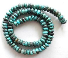 8 mm Turquoise Rough Cut Rondelle Beads Green 16 inch Strand