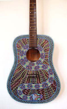 Handpainted Acoustic Snake Guitar in Musical Instruments & Gear, Guitars & Basses, Acoustic Guitars | eBay
