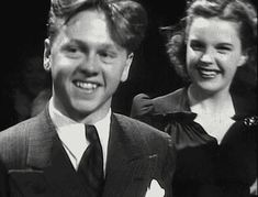 Mickey Rooney and Judy Garland. Posted on Movie Moments, Pinterest.