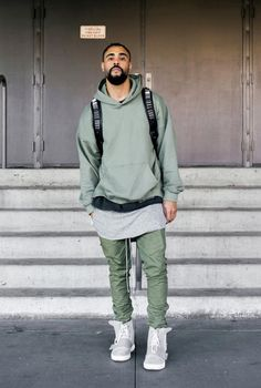 HM Fear of God Trousers Joggers Olive Green Black Twill Ankle Zipper Fog Bottoms Swag Style, Style Hip Hop, Style Grunge, Style Casual, Cl Fashion, Hip Hop Fashion, Urban Fashion, Fashion Brand, Mens Fashion