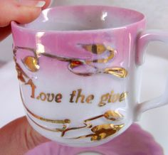 Love the Giver Antique Pink Iridescent Tea Cup and Saucer