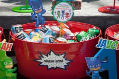 Party details from a PJ Masks Superhero Birthday Party via Kara's Party Ideas | KarasPartyIdeas.com (54)