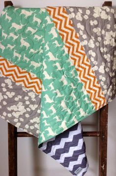 Baby Quilt, Organic, Rustic, Woodland, Gray, Pool, Orange Chevron, Modern Quilt, Elk, Deer, Mod Basics 2, Baby Blanket, Crib Bedding, Baby on Etsy, $105.00