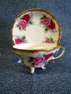 Vintage Tea Cup and Saucer, Fine China with Three Legs and Red Roses, Royal Sealy