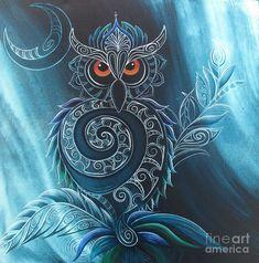Maori design art print of Ruru (NZ Morepork) by Reina Cottier Kunstjournal Inspiration, Art Journal Inspiration, Glue Art, Mandala, Maori Designs, Owl Tattoo Design, Nz Art, Maori Art, Thing 1