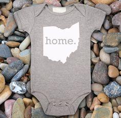 Homeland Tees - #Ohio #Home Baby Onesie - Heather Grey, Baby Blue, or Pink. $17.95, via Etsy.