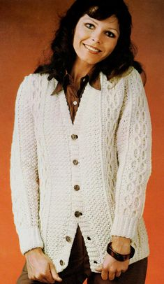vintage crochet pattern cable knit button up by TheVintagePurlCo