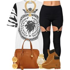 A fashion look from April 2014 featuring Illustrated People t-shirts, Estradeur leggings and Timberland ankle booties. Browse and shop related looks.