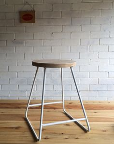 Metal stool with plywood seat by LittleRedIndustries on Etsy