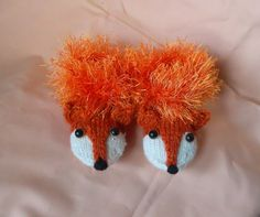 Hand Knit  Fox Slippers Shoes Booties House shoes by BacuJIucka, $24.00