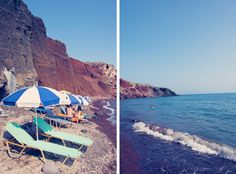 Teal Chairs, Red Beach Santorini Diptych