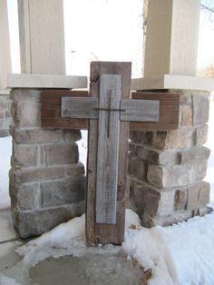 Barn Wood cross Repurposed wood cross by BlessHerHeartDesigns, $100.00