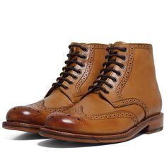 51291eabee41a Grenson Sharp Brogue Derby Boot (Tan) Fashion Sense For Men