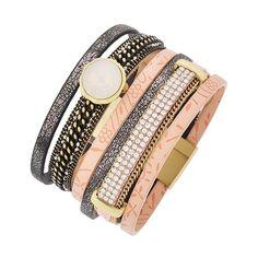 "Peach Leatherette Bracelet Matte Gold & Burnished Gold Tone / Dark Grey & Peach Leatherette / Clear Rhinestone / White Opal Acrylic / Magnetic Closure / Bracelet •   LENGTH : 7 1/4"" •   WIDTH : 1 3/4""  •   MATT GOLD/PEACH R.E.A.L Jewelry Jewelry Bracelets"