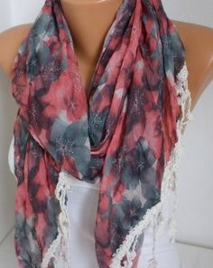 ON SALE - Floral Scarf Shawl Women Shawl Scarf - Cowl Scarf - Multicolor - fatwoman